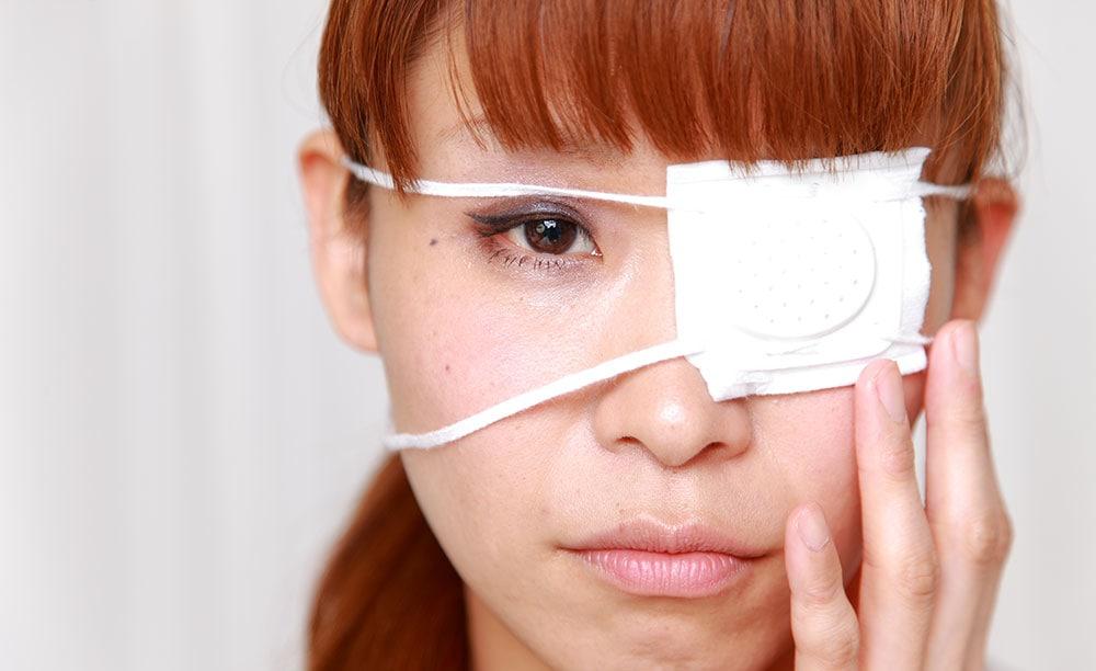 Woman with eye injury
